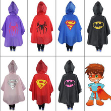 1Pcs/set Cute Baby Kids Rain Coat Superman Batman Spiderman Rainwear Boys Girls Waterproof Raincoat Clothes Superhero Rainsuit