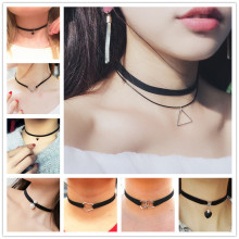 New Gothic Punk Harajuku Choker Necklace Leather Black Velvet Suede Steampunk Torques Jewelry Statement Colar Christmas Gift