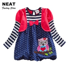 Retail Girls Dresses Tutu Lace Animal Owl Children's Dresses Stripe Children Clothing Kid Dresses for Girls Neat LG006 Mix(China)