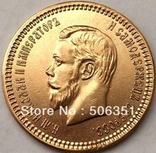 100% 24-K Gold plated 1898 russia 10 Roubles gold Coin copy