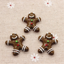 10pcs Kawaii Gingerbread Man Resin Miniature Food Art Supply Flatback Cabochon DIY Decorative Craft Scrapbooking,24*27mm