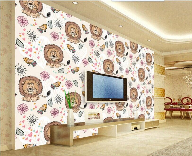 Custom children  wallpaper,Little Tiger and bird,3D cartoon mural for living room childrens room sofa backdrop wallpaper<br>