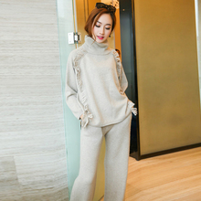 2016 Real New Tracksuits Ladies Elegant High-end Mink Cashmere Sweater + Material Solid Old Wide Leg Pants Are Two Piece Suit