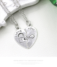 Hot sell Love splicing lovers Lock and key Best friend pendant necklace half a person selling exquisite necklace best gift