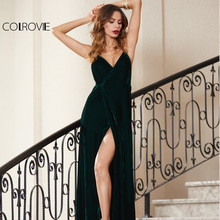 COLROVIE Green Velvet Summer Party Dress 2017 Strappy Backless Women Sexy Wrap Maxi Dresses Deep V Neck Cross Strap Long Dress(China)
