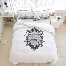 White color Cotton Lace Embroidered Bedding set 4Pcs King Queen size Girls Bed set Duvet cover Bed/Fit sheet set Pillow sham(China)