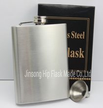 Discount ! 200pcs/lot  stainless steel 8 oz  liquor hip  flask with free funnel shipping free by DHL Or UPS