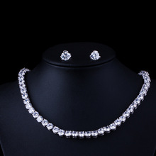 Big Carat Round CZ Crystal Necklace and Earrings Bridal Party Jewelry Set For Wedding Evening(China)