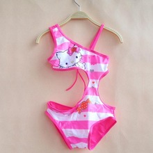One Piece Bathing Suit For Children Siamese 2017 Summer Swimsuit Pink Striped Cartoon Print Bikini Mode Baby Swimwear 62022
