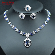 Luxury Silver Color Necklace Earrings Ring Jewelry For Women Blue Crystal Fashion Bridal Jewelry Set USA Size 6/7/8/9 Wedding(China)