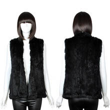 GTC129 womens new style black sleeveless turn-down collar knitting rabbit fur vest trimming gilets waistcoat for ladies