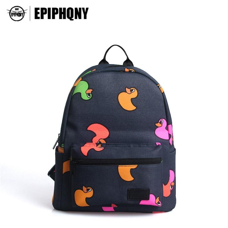 Epiphqny Famous Brand Black Duck Cartoon School Bag Colorful Pocket Small Canvas Backpack Animal Printing Zipper Backpacks Girl<br>