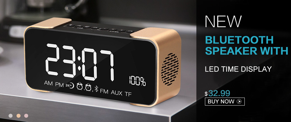 2017 NewBluetooth Speaker 4.1 Stereo Music Soundbox Time Display Alarm Clock FM Radio TF Card LED Time Display Wireless Speaker