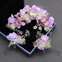 Bride head flower hair trim clip hair set suit popular handmade cloth head flower wedding dress headdress accessoriesAD2005(China)