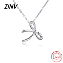 ZINV new style Jewelry 925 Sterling Silver Bow Tie Necklace Pendant Luxury Cross Design Silver Chain Fashion Jewelry for Women