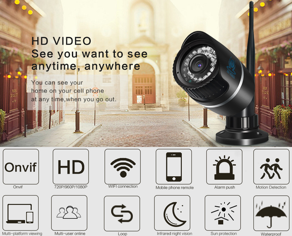 ZSVIDEO Surveillance Cameras Wireless CCTV Monitor IP Camera Alarm System WIFI IP Cameras Waterproof NVR HD Bullet IR Webcam (1)