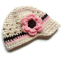 free shipping, Hot sale Baby Girl Lovely Infant Toddler Handmade Knit Crochet flowers Hat , 100% cotton girls Newsboy caps(China)