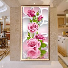 5D Needlework Diy Diamond Painting Cross Stitch Pink Rose Diamond Embroidery Flower Vertical Print Round Drill Home Decoration