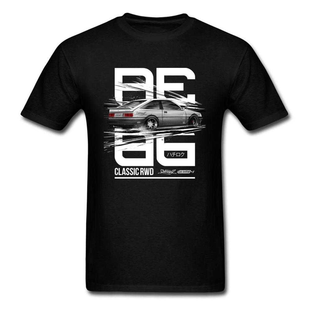 Leisure CLASSIC RWD DRIFT SERIES ae86 T-shirts for Men 2018 Popular Father Day Round Neck 100% Cotton T-shirts Tops & Tees CLASSIC RWD DRIFT SERIES ae86 black