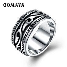 GOMAYA Men's Titanium Stainless Steel Vintage Geomeric Ring for Men Women Silver Color Bague(China)