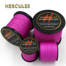 Hercules 4 Strands Pink 100M 300M 500M 1000M 1500M 2000M 100% PE Super Strong Braided Fishing Line Sea Weave Superior Extreme(China)