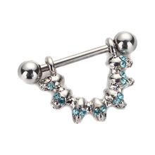 Velishy1 Pc Skull Nipple Piercing Bar Shield Barbell Ring Jewel Gem Design Surgical Steel for Women Body Jewelry