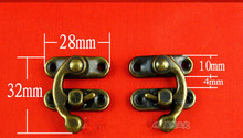 28*32MM 100pcs Jewelry box latches Hasp lock Metal Vintage Antique brass wine gift box padlock wholesale
