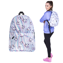 YUFANG Designer Backpacks for Girls Women School Bag for Teenager Unicorn Printed Backpack Female Canvas Preppy Schoolbag Purple