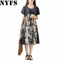 2017 New Summer dress Cotton Linen Fashion Ladies O-neck loose Plus Size Color stitching women dress Female Vestidos Robe