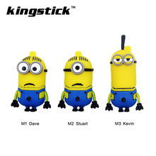 Kingstick mini cute minion USB Flash Drive Pendrive Stick 8GB 16GB 32GB 64GB 4GB 2.0 Pen Drive Memory Flash(China)