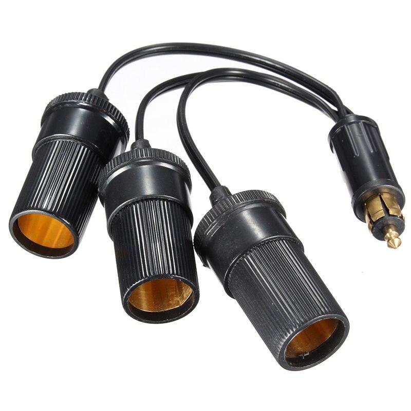 12V Plug To Triple Cigar Socket Cigarette Lighter Adaptor Plug Connector Converter<br><br>Aliexpress