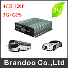 4CH 3G Vehicle HD Mobile DVR Video Recorder With GPS(China)