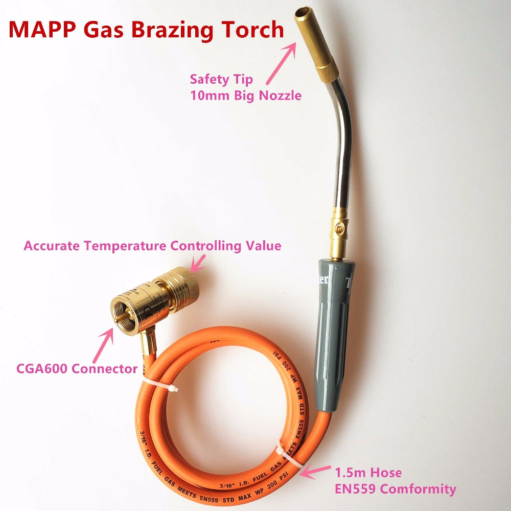 Brazing Torch of MAPP/Propane Gas 1.5m Hose for Brazing Soldering Welding Heating Application can also be used for HVAC Plumbing<br>