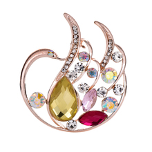 Colorful Austrian Crystal Brooch Pin For Women Top Quality Swan Brooches Jewelry Fashion Wedding Party Invitation Bijoux Brooch