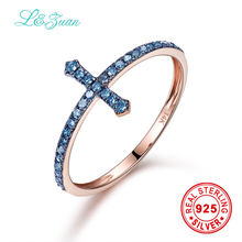I&zuan Brand Luxury 14K Rose Gold Natural 0.153ct Blue Diamond Cross Prong Setting Trendy Simple Ring Jewelry For Women Gift(China)