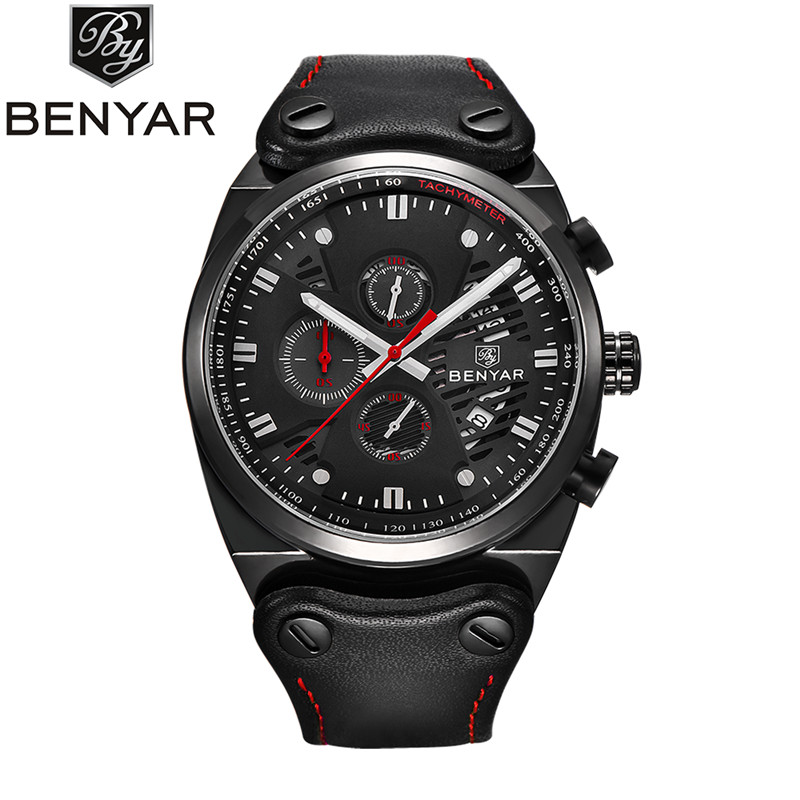 Brand BENYAR 2017 new mens watches quartz Chronograph watch men real three dial luminous waterproof 30M outdoor sports watch<br>