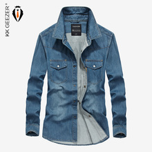 Jeans Shirt Men Denim Shirts Light Blue 4XL Long Sleeve Military Casual Shirts High Quality Brand Loose Cowboy Dress Shirt(China)