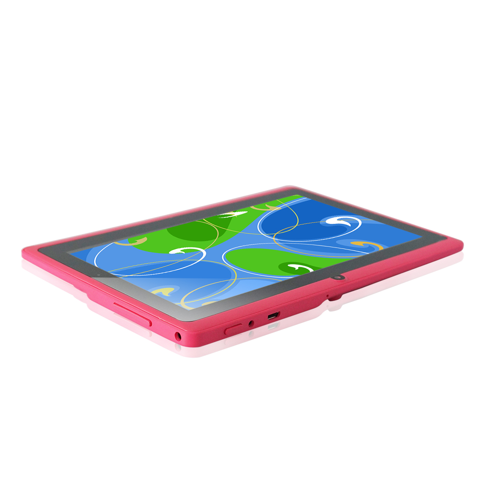 5 color Yuntab 7 inch Android Tablet Q88,1024*600 A33 Quad Core 512MB Add 8GB Dual Camera, Supports WIFI 3G External