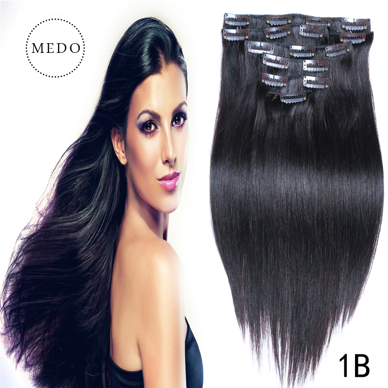 180g clip in human hair extensions Body wavy 7A african american clip in human hair extensions  8pcs/set  16″-26″ Brazilan hair