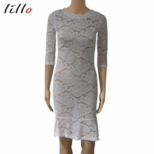Fashion white Sleeve Lace Night club bag hip dress Spot summer dress Ruffle perspective lace Sexy fashion business attire Free(China)