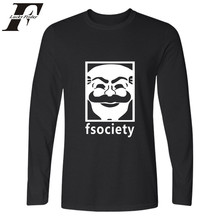 Punk Style Mr Robot Fsociety T shirt Hot Men Spirnt Fashion Clothing Men's Long Sleeve T Shirt Cotton Casual T-Shirt Fsociety