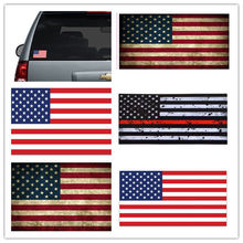 Thin Red Line American Flag Distressed Fire Vinyl Helmet Sticker USA flag New