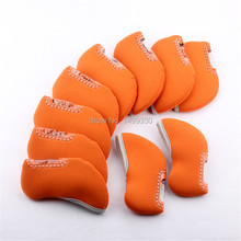 Free Shipping 10PCS Orange Neoprene Golf Iron Headcover With Transprant Window For AP2 Waterproof(China)