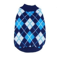 Lovely Warm Lattice Small Pet Dog Knitwear Outdoor Cat Coat Top Sweater 4 Color(China)