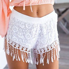 Women's Summer Sexy Hot Cheap Short Lady Casual Crochet Lace Tassel Mini White Black Shorts Beach Party Short skort(China)