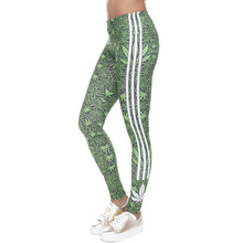 Fashion Stretch Leggings Weeds White Stripes Printing Fitness legging Sexy Silm legins High Waist Trouser Women Pants(China)