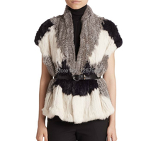 YR230 Block color Rabbit Knitted Fur Vest Short sleeve Real Fur Garment ~Wholesale~Retail~OEM