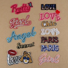 Letter Sequined LOVE/ PRETTY/ GIRL/ANGEL Badge Iron-on Embroidery Patches Garment Appliques DIY Accessory 5pcs/lot Free Shipping
