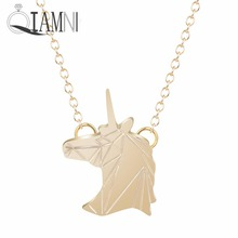QIAMNI Punk Handmade Unicorn Head Animal Pendant Necklace for Women Girls Minimalist Party Jewelry Birthday Christmas Gift Charm