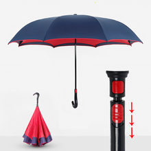 High Quality Auto off Reverse Upside-Down Umbrella Car Anti UV Double Layer  C Handle Umbrella